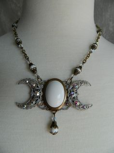 WINTER WITCH - triple moon goddess necklace by Crow Haven Road. $50.00, via Etsy.