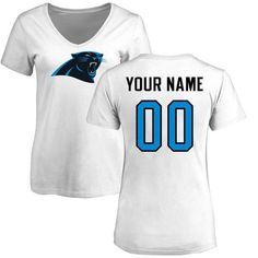 Carolina Panthers NFL Pro Line Women s Personalized Name   Number Logo Slim  Fit T-Shirt - White 16dfadbf42