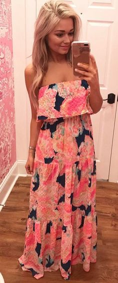 #spring #outfits  Floral Printed Off The Shoulder Maxi Dress ☀️
