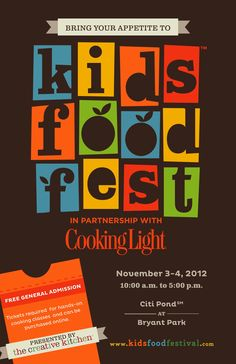 """Saturday, March 2 kicks off the Creative Kitchen presents the second annual """"Kids Food Festival"""" in partnership with Cooking Light. Enter here for a chance to win 2 tickets* for a cooki… Cooking With Kids, Cooking Light, Cooking Rice, Nyc Fall, James Beard Foundation, Online Cookbook, Baking Classes, Festival Posters, Kids Prints"""