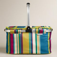 One of my favorite discoveries at WorldMarket.com: Thai Stripe Insulated Collapsible Tote, great for the beach.