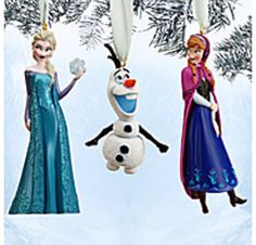 Elsa, Ana, and Olaf from Frozen ornaments