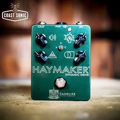 "The Haymaker is Caroline guitar Company's overdrive packed with unique character, a wide range of tone and lots of gain if desired. It's three mode switch allows the choice of soft-clipped overdrive, open uncompressed drive, or harder clipped distortion tones. Each setting responds differently to the wide range of control settings allowing for massive amounts of variation and customization - hence it's moniker of ""dynamic drive"" comes from."