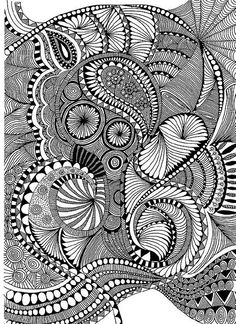 Zentangle like - zentangle inspired - zentangle patterns - #zetangle - black and white zentangle drawing