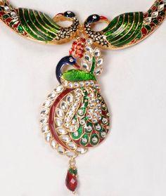 peacock jewelry | Peacock jewellery Set With Meenakari Work
