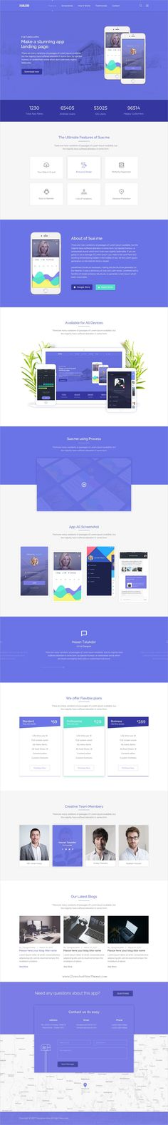 Sueme is clean and modern design multipurpose #PSD template for #creative app #landing page website download now➩ https://themeforest.net/item/sueme-multipurpose-landing-psd-template/19852521?ref=Datasata