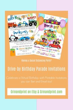 Aug 9, 2020 - This is our Drive-By Birthday Invitations for a boy or a girl. If you are in need of some Drive-By Birthday Parade Ideas or a Drive-By Party Invitation for a Social Distance Birthday Party then our Drive-by Parade Invitations are something fun for a boy's or a girl's birthday party. A Birthday Party can still be held with curbside treats and favors. #drivebyparty #drivebybirthday #paradebirthday #paradebirthday #virtualparty #socialdistancingbirthday #birthdaypartyideas Holiday Invitations, Printable Invitations, Birthday Invitations, Printables, Scavenger Hunt Birthday, Birthday Party Games, Birthday Ideas, Kids Party Themes, Party Ideas