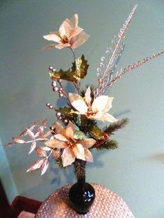Gold Silk Poinsettia Arrangement in Vintage  Glass  Bud Vase  | RefinedVintage - Floral on ArtFire
