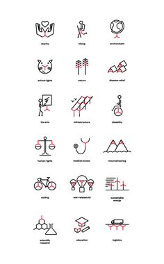 Logo inspired icon set for The Chain Reaction Project designed by Bravo Company \\ iconography Icon Design, Web Design, Graphic Design, Collateral Design, Identity Design, Stationary Design, Design Graphique, Art Graphique, Logo Design Liebe
