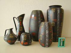 6 vasen 50-60er jasba carstens tönnieshof rockabilly cortendorf ära west germany | eBay