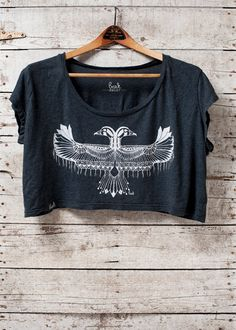 Reverie - Crop Top Cropped boho fashion festival cropped tshirt  - in almost black - by Simka Sol