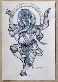 Ganesha Sketch, Ganesha Drawing, Ganesha Tattoo, Lord Ganesha Paintings, Lord Shiva Painting, Ganesha Art, Arte Shiva, Shiva Art, Krishna Art