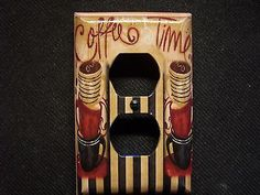 Decorative Light Switch Covers-Decoupage-COFFEE TIME-Dbl Outlet-Made To Order