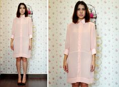 Pink Shirt Dress Long Sleeve Day Short Mini Pleat Pastel 8 M Fall Fashion Etsy Gift on Etsy, £41.29