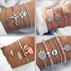 DIEZI 19 Style Bohemian Rope Chain Bracelets Sets For Women Men Hot Vintage Fashion Map Tassel Charm Bracelets Jewelry Gifts Cheap Charm Bracelets, Cheap Jewelry, Cute Jewelry, Body Jewelry, Jewelry Gifts, Jewelry Bracelets, Jewelery, Silver Jewelry, Handmade Jewelry