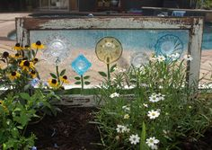 Stained Glass Mosaic Repurpose Wooden Window Plate Flowers Vintage on Etsy, $325.00