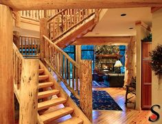 Other Log and Timber Projects by Sitka Log Homes | Log staircase with log rails