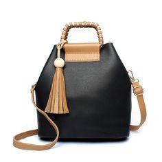 49.19$  Buy now - http://ali82t.shopchina.info/go.php?t=32795196601 - 2017 Designer Women Leather Handbags Black Bucket Shoulder Bags Ladies Crossbody Bags Large Capacity Ladies Shopping Bag Bolsa 49.19$ #shopstyle