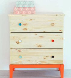 Add painted knobs and a riser to an IKEA dresser