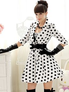 Morpheus Boutique  - White 3/4 Sleeve Dots Pleated Hemline Overcoat, $109.99 (http://www.morpheusboutique.com/products/white-3-4-sleeve-dots-pleated-hemline-overcoat.html)