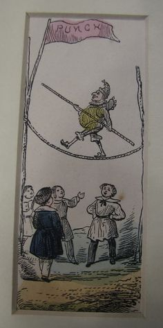 Punch walking a tightrope 19th century