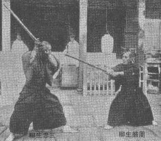 Yagyū Sangorō Taira Toshichika (R), 19th Soke of the Yagyu Shinkage Ryu main line.