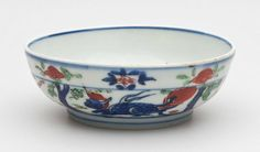 Small Bowl with Decoration of a Dragon on the Interior and Human Figures and Fantastic Animals on the Exterior, Wanli period, 1573-1620,Ming dynasty, 1368-1644, Jingdezhen, Jiangxi province, China. Harvard Art Museums