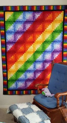 Log cabin using rainbow ombre fabric