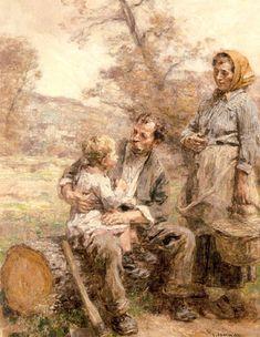 Leon-Augustin L'hermitte (Leon Augustin L'hermitte) (1844-1925) Le Dejeuner du Bucheron Oil on canvas 1918