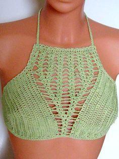₩₩₩ Crochet top high neck crochet tank crop top halter top by Spillija