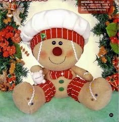 Templates For Fabric Crafts: ginger drink with mold Gingerbread Crafts, Gingerbread Decorations, Christmas Gingerbread, Christmas Candy, Christmas Holidays, Christmas Decorations, Christmas Ornaments, Holiday Decor, Christmas Sewing