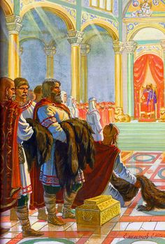 The Roman Emperor Constantine VII Porphyrogenitus gives audience to a delegation of Olga of Kiev, Regent of Kievan Rus, 957 AD. Picture by Evgeny Emelyanov Military Art, Military History, Roman Kings, Byzantine Architecture, Early Middle Ages, Byzantine Art, Medieval Times, Dark Ages, Historical Pictures