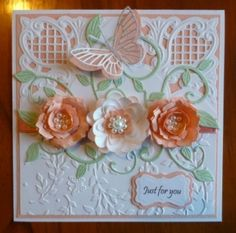 Handcrafted by Helen: Apricot flowers with butterfly