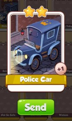 Police Car Card - Sherlock Set - from Coin Master Cards - Tassie Books Game Cards, Card Games, Electronic Cards, Car Card, Sale Purchase, Police Cars, Online Games, Sherlock, Coins