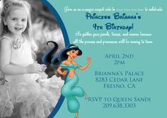 Disney Princess Jasmine Invitation with by DarlingDesignsbySara, $14.99