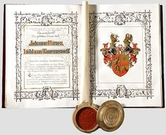 Austrian Grant of Nobility and of Arms to Johann Ritter Löbl von Tauernstorff, 10 March Holy Roman Empire, 10 March, Lorraine, Austria, Coins, Arms, House, Libros, Crests