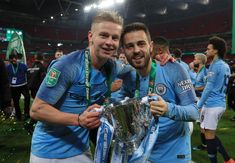 Oleksandr Zinchenko and Bernardo Silva of Manchester City celebrate victory with the trophy after the Carabao Cup Final between Chelsea and Manchester City at Wembley Stadium on February 2019 in. Get premium, high resolution news photos at Getty Images Zen, Premier League Champions, Wembley Stadium, Pep Guardiola, Football Boys, I Don T Know, Manchester City, Victorious, Chelsea