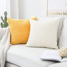 Home Brilliant Fall Decor Pillow Covers Soft Decorative Striped Corduroy Velvet Square Mustard Throw Pillow Sofa Cushion Covers Set Couch, 2 Pack, inch Sunflower Yellow Yellow Throw Pillows, Sofa Throw Pillows, Cushions On Sofa, Throw Pillow Covers, Silver Grey Rug, Flannel Duvet Cover, Couch Set, Sofa Cushion Covers, Velvet Cushions