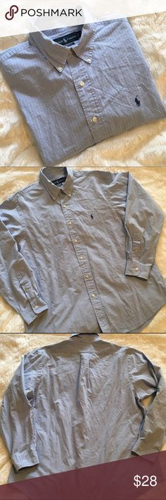 Men's Ralph Lauren L/S Button Up Ralph Lauren Custom Fit long sleeve button up shirt. Size 17, 34/35. Light blue checked pattern. In great condition, only flaw is fading in armpit area as shown in pics. So sorry for the wrinkles! 🙈 ❌NO TRADES ❌NO LOWBALLING❌ Ralph Lauren Shirts Casual Button Down Shirts