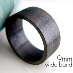 9mm+Wedding+Band++Black+Gold+Plated+over+925+by+360JewelsElite