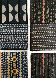 series of experimental textile batik/collage works