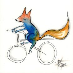 Fox on a Bike . Blue and Orange Fox Print .