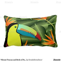 Vibrant Toucan and Birds of Paradise Pillow