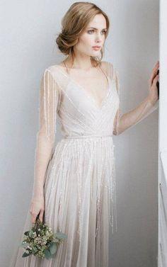 Long Sleeve V-Neck Illusion Tulle Weddig Dress With Beading-711693