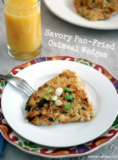 Savory Pan-Fried Oatmeal Wedges with Shredded Carrot and Green Onion: quick, easy light dinner--and a great way to use leftover oatmeal! Healthy Vegan Breakfast, Savory Breakfast, Breakfast Recipes, Healthy Eating, Breakfast Ideas, Savory Oatmeal, Oatmeal Recipes, Easy Healthy Dinners, Easy Dinner Recipes