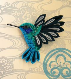 Green-blue hummingbird brooch, tsumami zaiku. Fabric brooch in japanese style. Customizable for other accessories.