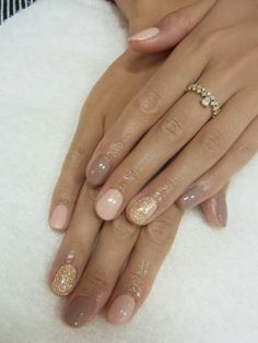 ~nude, taupe and gold glitter nails