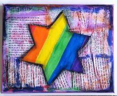 Jewish Star mixed media canvas art rainbow by osbornemixedmedia