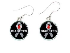 Diabetes Awareness Black Silver Ribbon Silver Earrings Jewelry ** Learn more by visiting the image link.