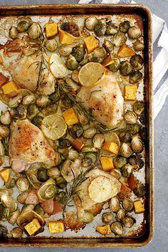 One Pan Lemon Rosemary Chicken Thighs | girlversusdough.com @girlversusdough